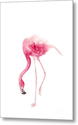 Pink Flamingo Watercolor Art Print Painting Metal Print by Joanna Szmerdt