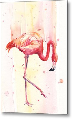 Pink Flamingo Watercolor Rain Metal Print by Olga Shvartsur