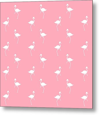 Pink Flamingos Pattern Metal Print by Christina Rollo