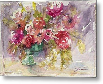Pink Floral Impressions Metal Print by Judith Levins