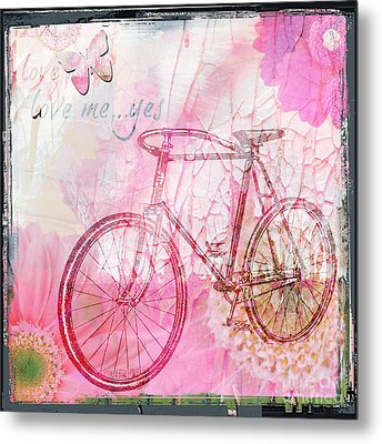Pink Flower Bicycle Metal Print by WALL ART and HOME DECOR