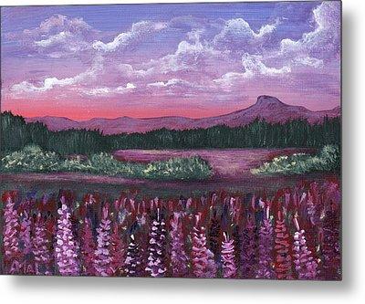 Pink Flower Field Metal Print by Anastasiya Malakhova
