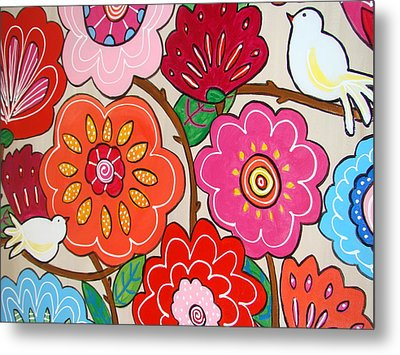 Pink Flowers And White Birds Metal Print