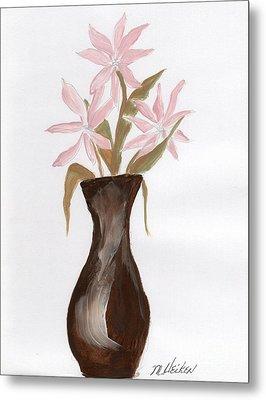 Pink Flowers In Brown Vase Metal Print by Marsha Heiken