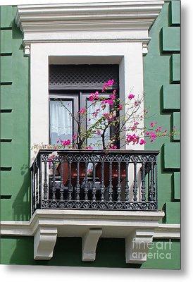 Pink Flowers On Balcony Metal Print