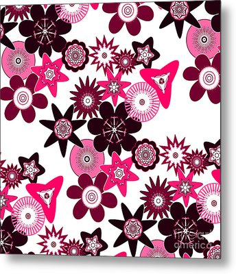 Pink Funky Flowers Metal Print by Methune Hively