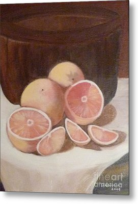 Pink Grapefruit Metal Print by Adrianne  Wagers