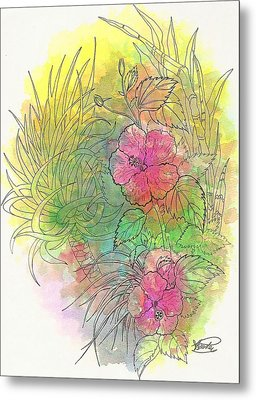 Pink Hibiscus Metal Print by George I Perez
