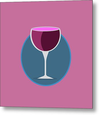 Pink Icon Of The Wine Metal Print