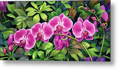 Pink Jungle Orchids Metal Print by Nancy Tilles