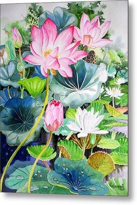 Pink Lotus And White Water Lilies Metal Print by Vishwajyoti Mohrhoff