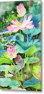 Pink Lotus  Metal Print by Vishwajyoti Mohrhoff