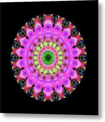 Pink Love Mandala Art By Sharon Cummings Metal Print by Sharon Cummings