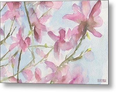 Pink Magnolias Blue Sky Metal Print by Beverly Brown