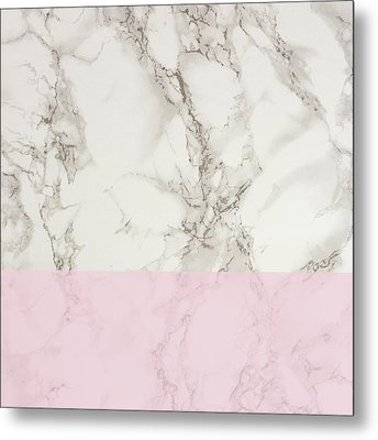 Pink Marble Metal Print by Suzanne Carter