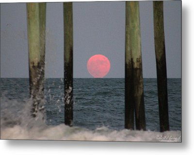 Pink Moon Rising Metal Print
