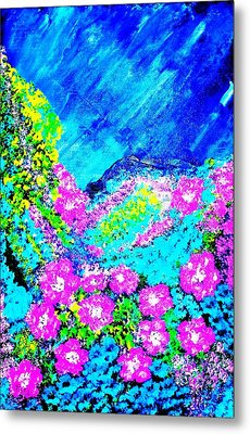 Metal Print featuring the painting Pink N Blue by Piety Dsilva