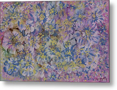 Pink On Blue Metal Print by Don  Wright