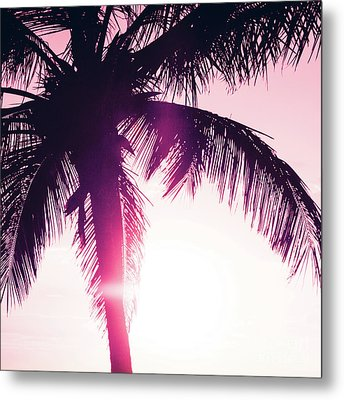 Metal Print featuring the photograph Pink Palm Tree Silhouettes Kihei Tropical Nights by Sharon Mau