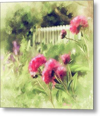 Pink Peonies In A Vintage Garden Metal Print by Lois Bryan