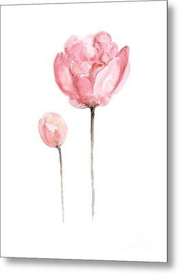Pink Peonies Watercolor Painting Metal Print