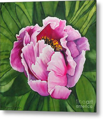 Pink Peony On Silk Metal Print by Suzanne Schaefer