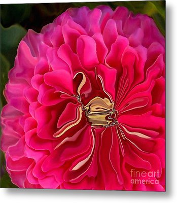 Pink Perky Zinna  Metal Print by Patricia A Williams
