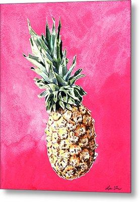 Pink Pineapple Bright Fruit Still Life Healthy Living Yoga Inspiration Tropical Island Kawaii Cute Metal Print by Laura Row