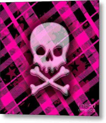 Pink Plaid Skull Metal Print by Roseanne Jones