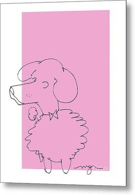 Pink Poodle Metal Print