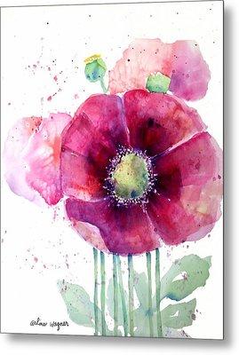 Pink Poppies Metal Print by Arline Wagner