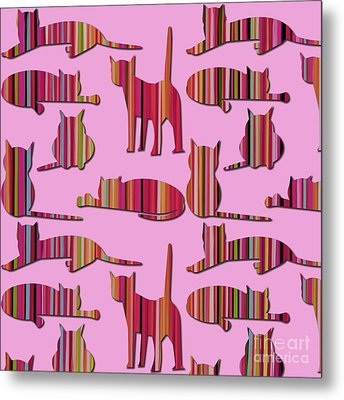 Pink Pussy Cat Metal Print by Carla Bank