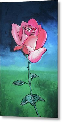 Metal Print featuring the painting Pink Rose by Mary Ellen Frazee