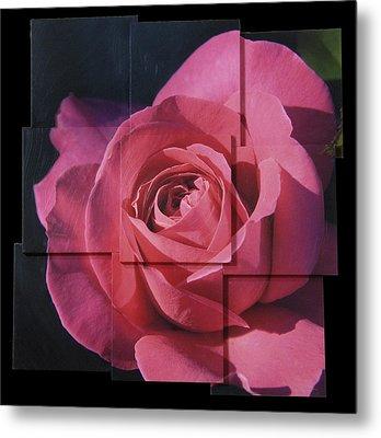 Pink Rose Photo Sculpture Metal Print by Michael Bessler