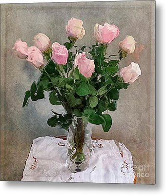 Metal Print featuring the digital art Pink Roses by Alexis Rotella