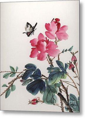 Metal Print featuring the painting Pink Roses And Butterfly by Yolanda Koh