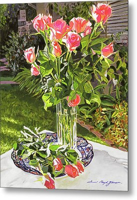 Pink Roses In Glass Metal Print by David Lloyd Glover