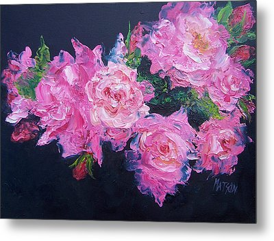 Pink Roses Oil Painting Metal Print