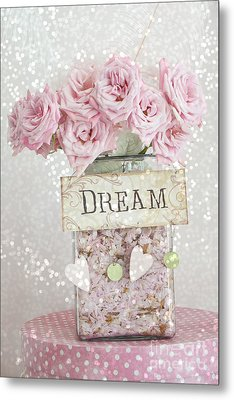 Shabby Chic Dreamy Pink Roses - Cottage Chic Pink Romantic Roses In Jar  - Dream Roses Metal Print by Kathy Fornal