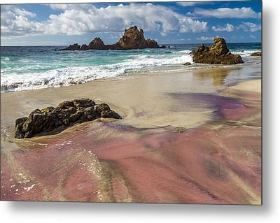 Pink Sand Beach In Big Sur Metal Print
