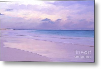 Pink Sand Purple Clouds Beach Metal Print by Anthony Fishburne