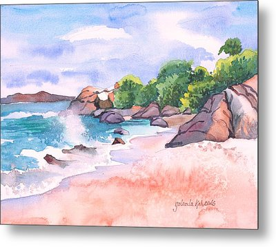 Metal Print featuring the painting Pink Sands by Yolanda Koh