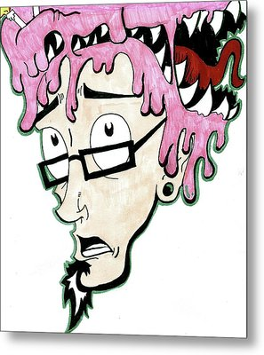 Metal Print featuring the drawing Pink Savage  by Iconic Images Art Gallery David Pucciarelli