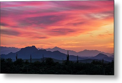Metal Print featuring the photograph Pink Silhouette Sunset  by Saija Lehtonen