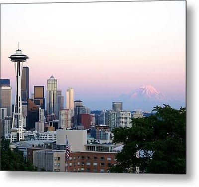 Pink Sky Over Mount Rainier Metal Print by Sonja Anderson