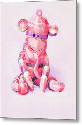 Metal Print featuring the digital art Pink Sock Monkey by Jane Schnetlage