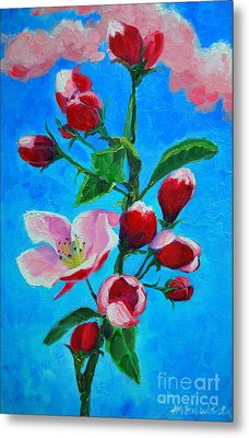 Metal Print featuring the painting Pink Spring by Ana Maria Edulescu