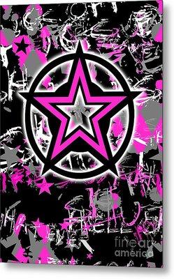 Pink Star Graphic Metal Print by Roseanne Jones