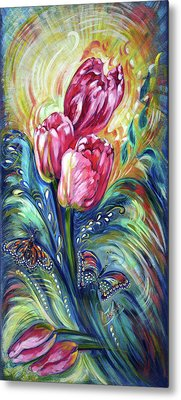 Pink Tulips And Butterflies Metal Print