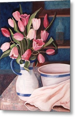 Metal Print featuring the painting Pink Tulips by Renate Nadi Wesley